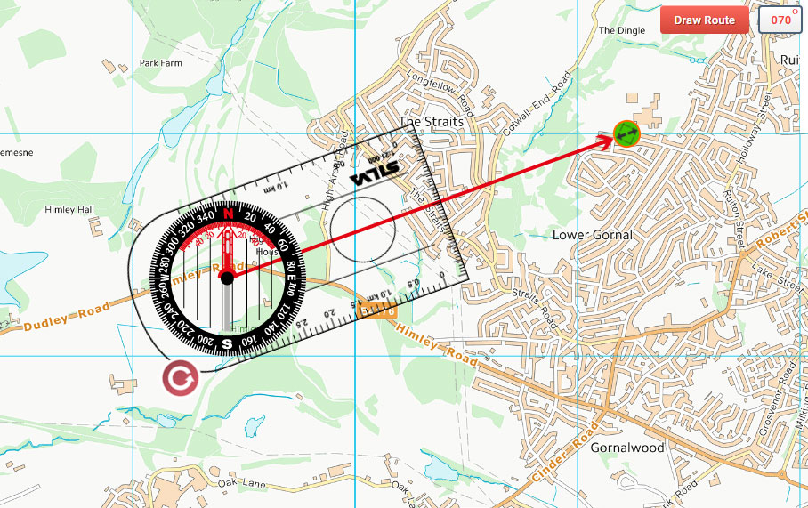 Manual extension of the Ordnance Survey Maps Compass direction of travel arrow