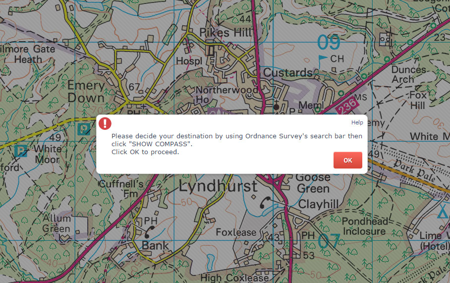 Select a starting location using the Ordnance Survey Map Search Box