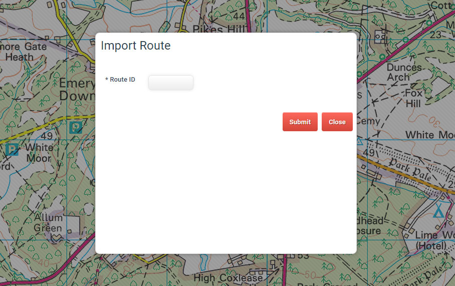 The import map route dialogue window